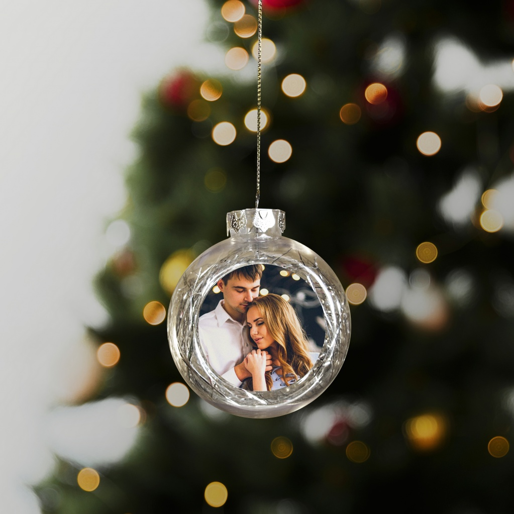 сердце прозрачные новогодние шары с фото внутри имен